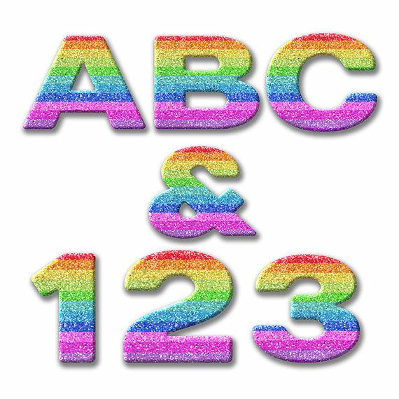 Digital Alphabet Rainbow Glitter Clipart Printable Sparkle Letters Numbers Punctuation Retro Scrapbooking
