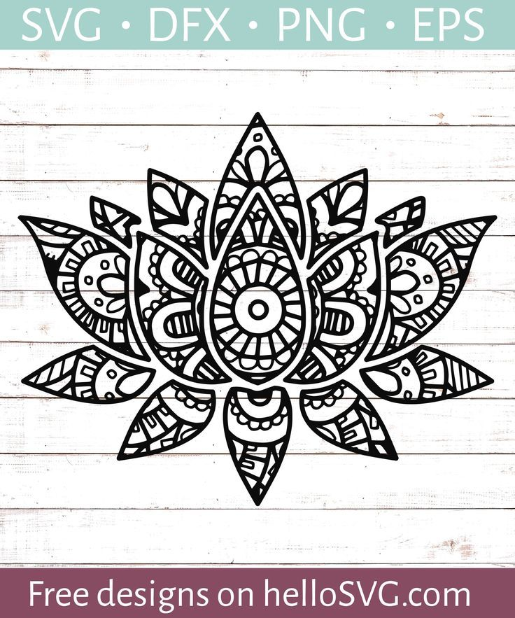 Mandala Style Lotus Flower SVG Free SVG files HelloSVG
