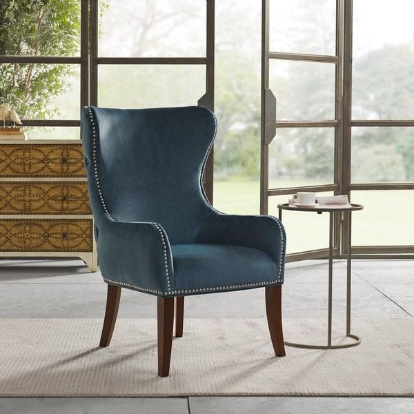 Best Madison Park Irvine Blue Button Tufted Back Accent Chair 640 x 480