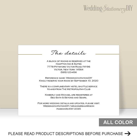 Wedding Information Cards Details Card Enclosure Insert Print