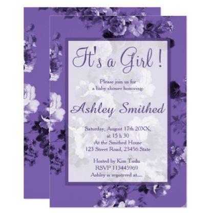 Girl baby shower purple ultra violet chic floral card purple girl baby shower purple ultra violet chic floral card purple floral style gifts flower flowers negle Gallery