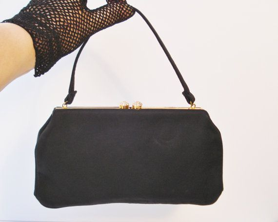 Magid Midcentury Formal Handbag Black Fabric by AlegriaCollection, $23.00