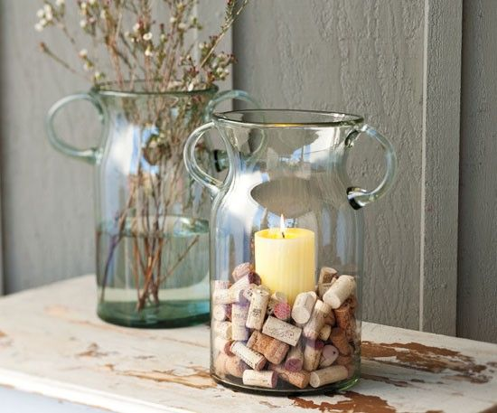 decorative cork vase. easy diy idea. you can buy corks or i got mine from my husband's restaurant. drop into anything from a mason jar to a hurricane vase. - Love canldes? Shop online at http://www.partylite.biz/legacy/sites/nikkihendrix/productcatalog?page=productlisting.category&categoryId=57713&viewAll=true&showCrumbs=true