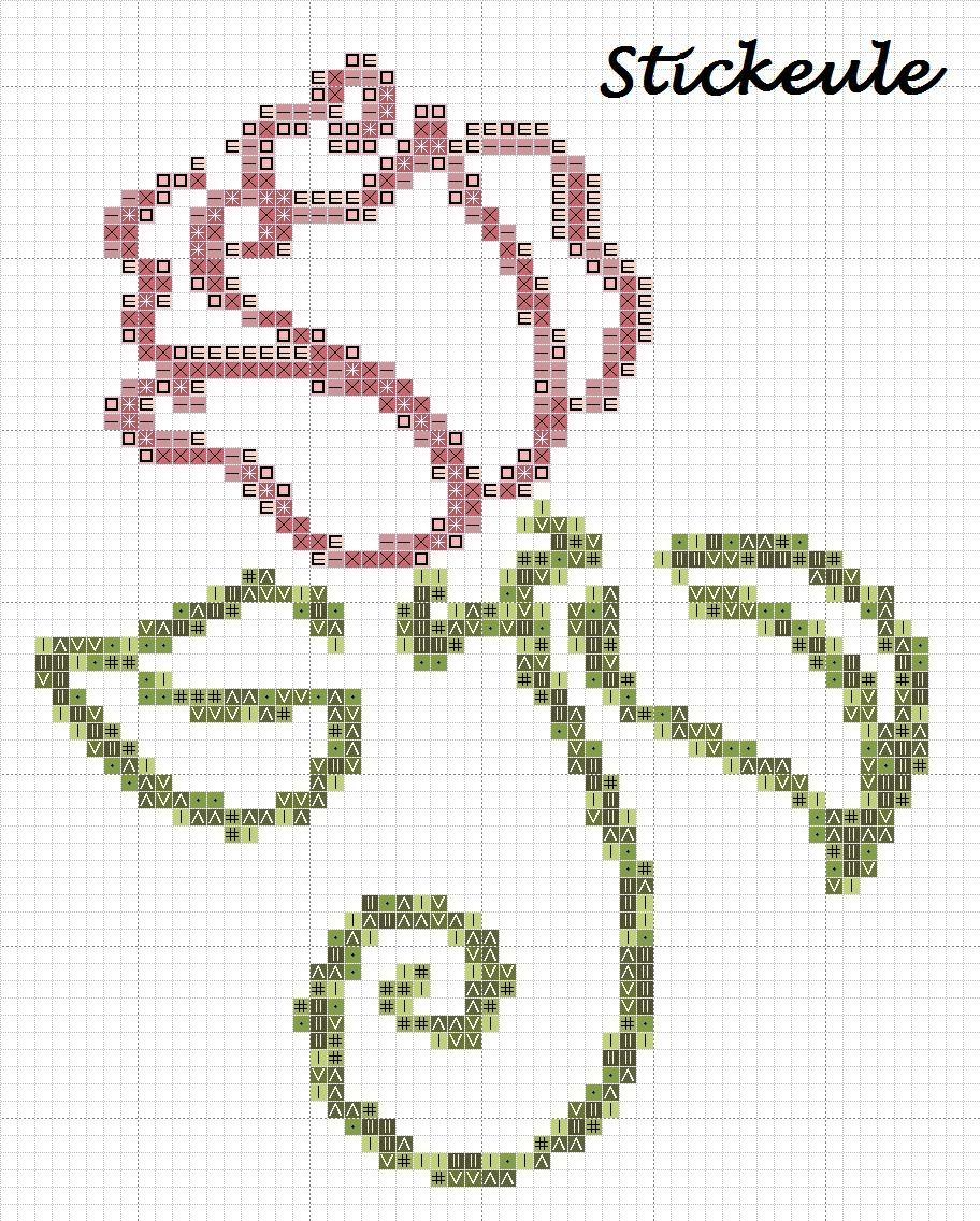 Cross stitch rose free pattern   Embroidery   Pinterest   Kreuzstich ...