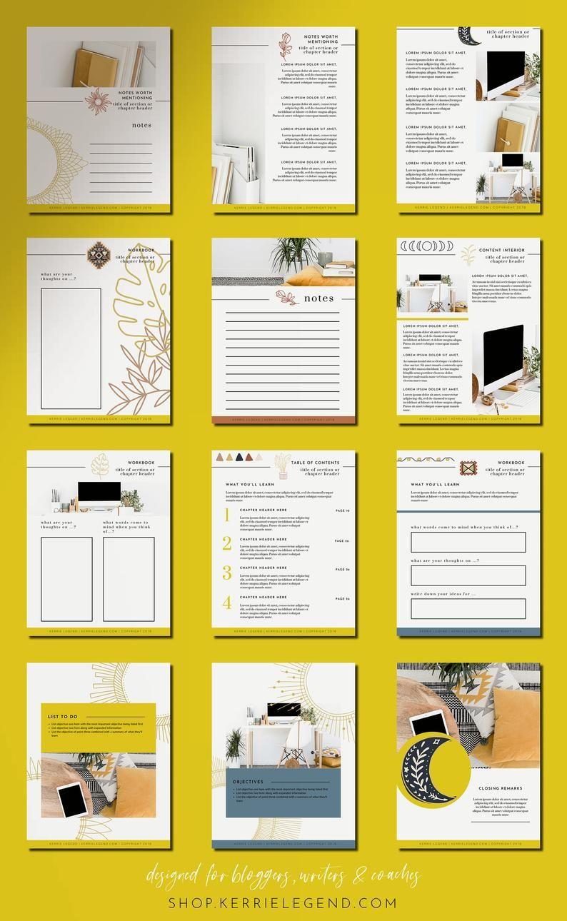 40 Page Ebook Workbook Canva Template Boho Blogger Design Etsy In 2021 Workbook Design Ebook Design Booklet Design