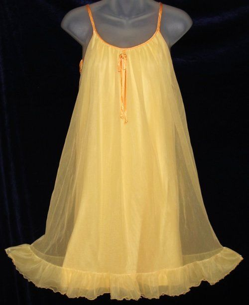 e239dc712183 French Maid Tangerine Orange Chiffon Nightgown Sheer Lingerie