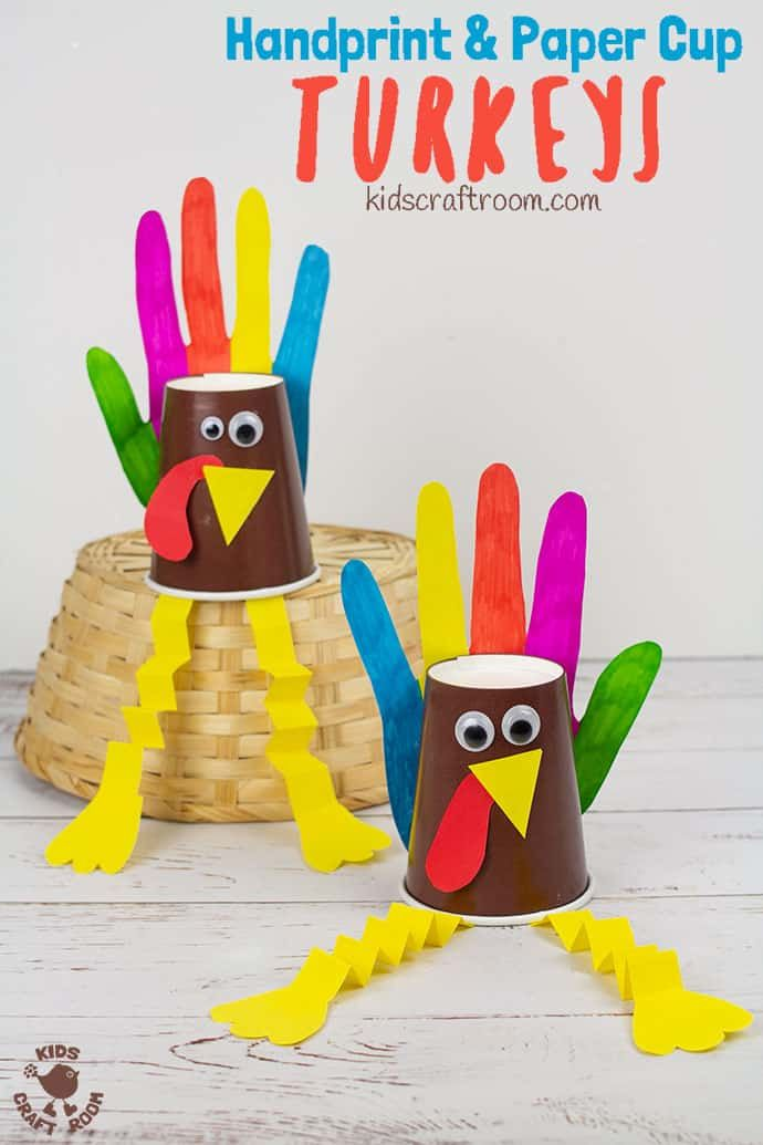Handprint and Paper Cup Turkey Craft