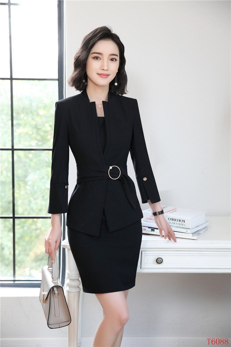3429591149bed New Styles 2018 Spring Summer Formal Professional Blazers Suits With Jackets  And Dress For Ladies Office Work Sets Plus Size