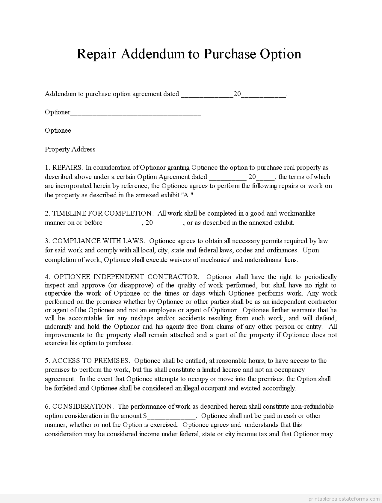 sample printable repair addendum form sample real estate
