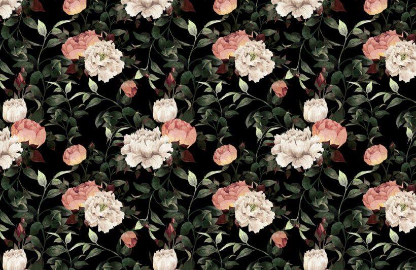 Dark Vintage Floral Wallpaper Mural Muralswallpaper Floral Wallpaper Vintage Floral Wallpapers Black Floral Wallpaper