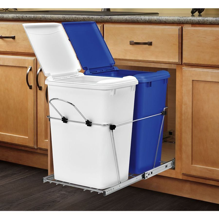 Furniture Gripping Mobile Kitchen Island With Trash Can Using Pull Out Garbage  Bin On Top Of Stainless Steel Sliding Shelves In Light Oak Cabinets Also  Oil ...