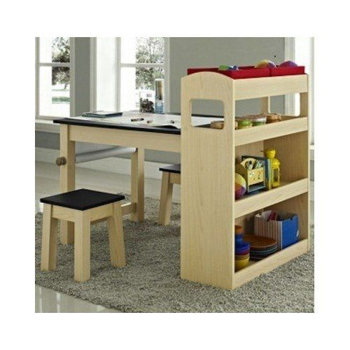 Kids Wood Activity Table With Two Stools And Storage Shelves