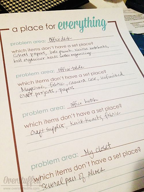 Make A Declutter Action Plan  Printable Worksheets Decluttering