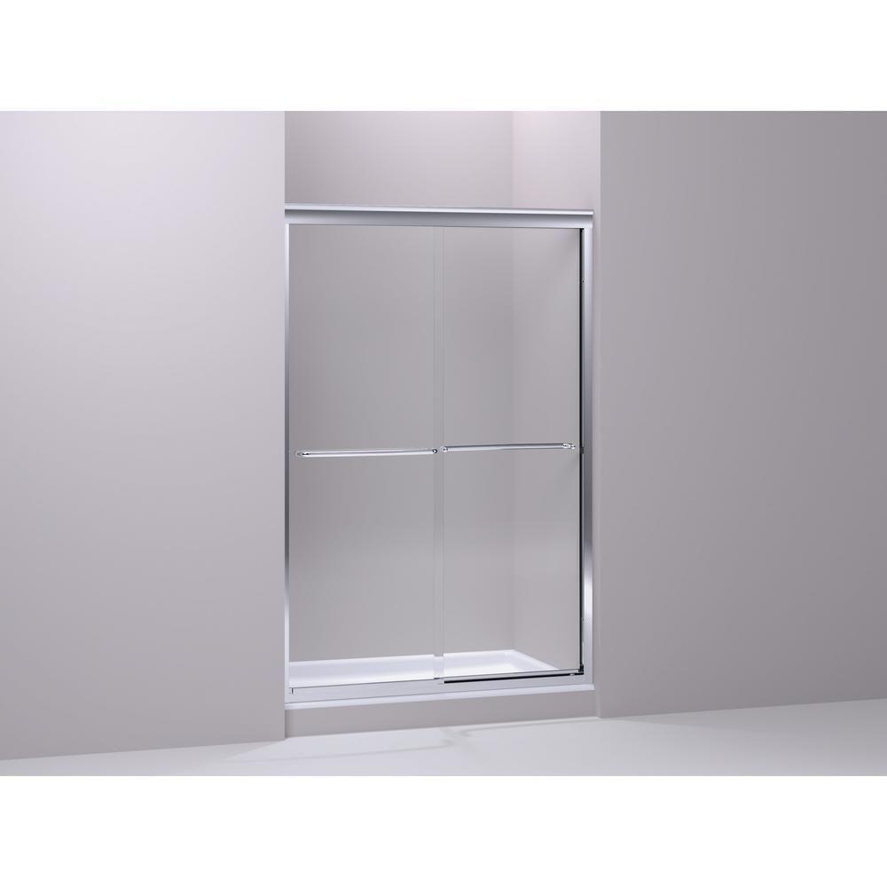 KOHLER Fluence 40 in. W x 76 in. H Frameless Sliding Shower Door in Bright Polished Silver-K-702219-L-SHP #framelessslidingshowerdoors