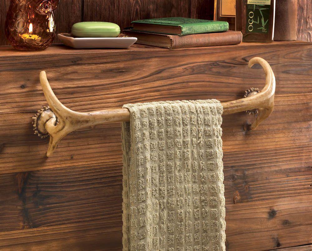 Deer Antler Hunting Lodge Cabin Rustic Decor Bathroom Bath Towel