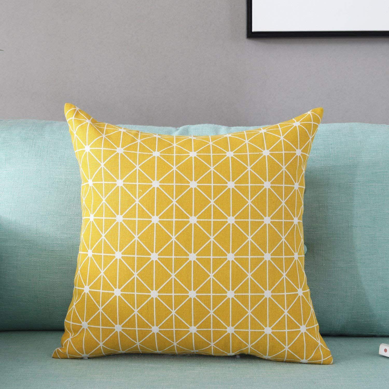 amazon com taoson yellow lattice geometry pattern cotton flax soft rh pinterest com