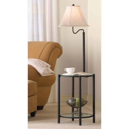Mainstays Glass End Table Floor Lamp Matte Black Cfl Bulb Included Walmart Com Glass End Tables Decorative Table Lamps Floor Lamp Table