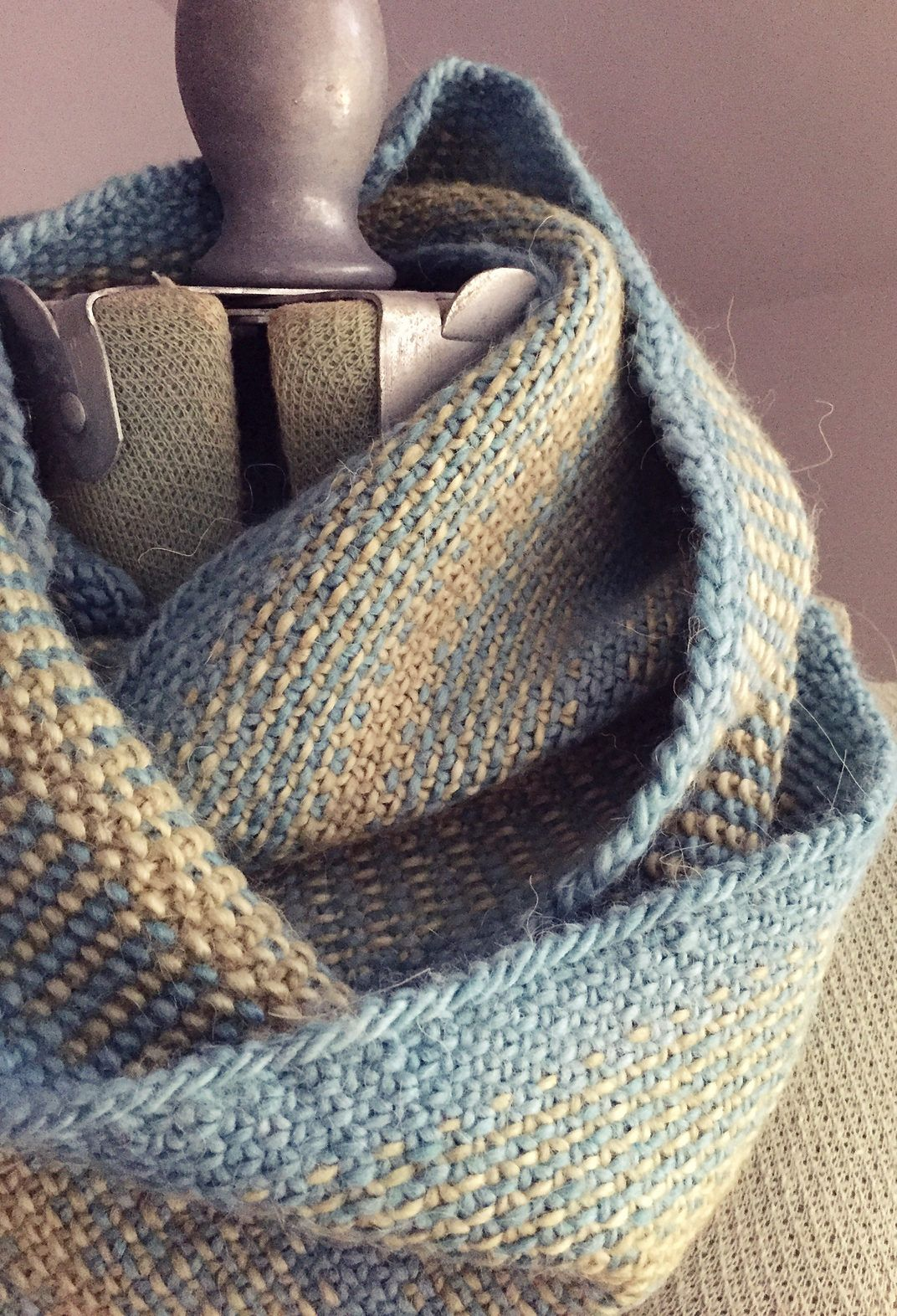 Free Knitting Pattern For Woven Lines Cowl Infinity Scarf This