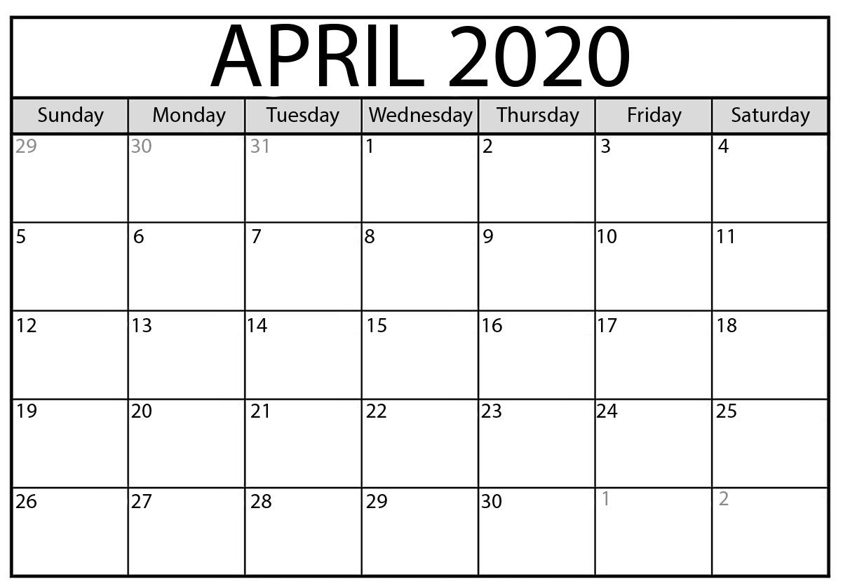 April 2020 Calendar Printable Template With Holidays Printable