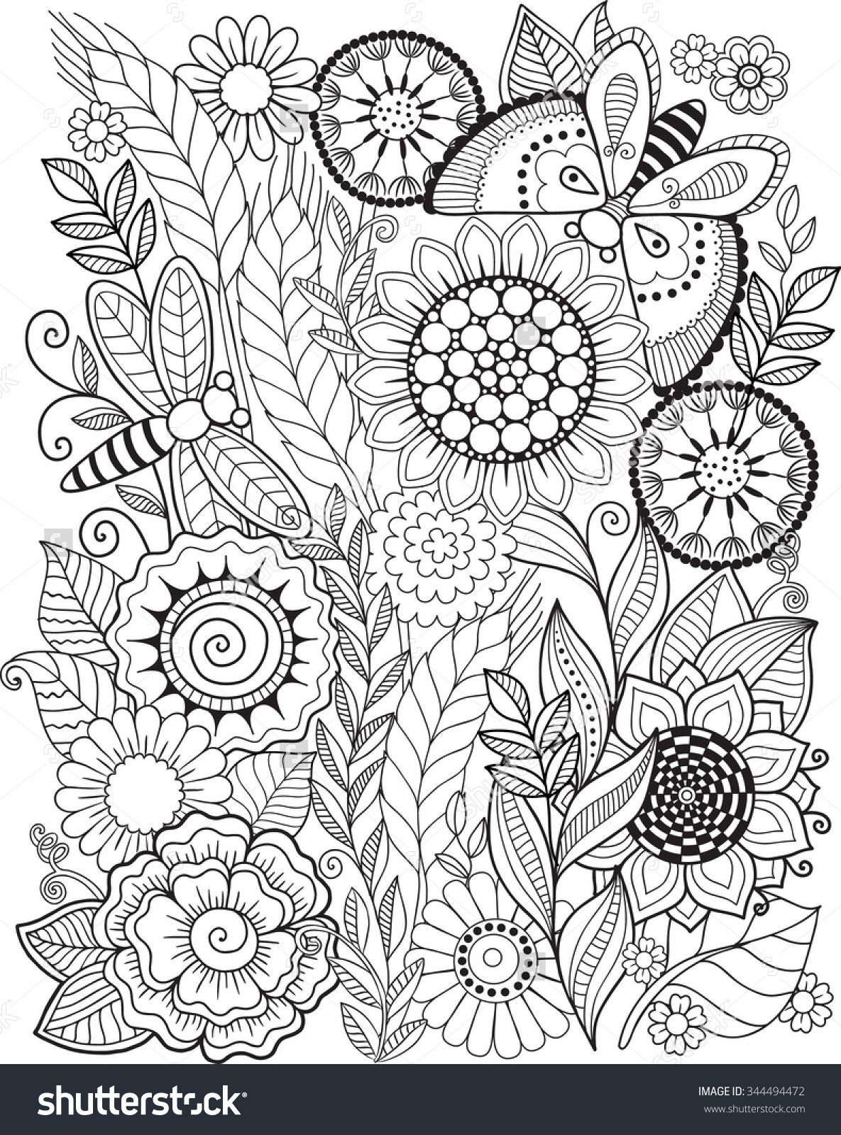 Coloring Book For Adult. Summer Flowers. Vector Elements ...