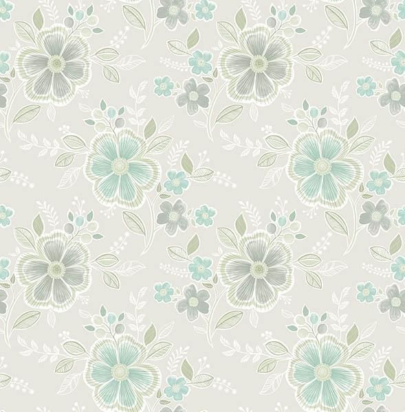 Chloe Aquamarine Floral - Wallpaper