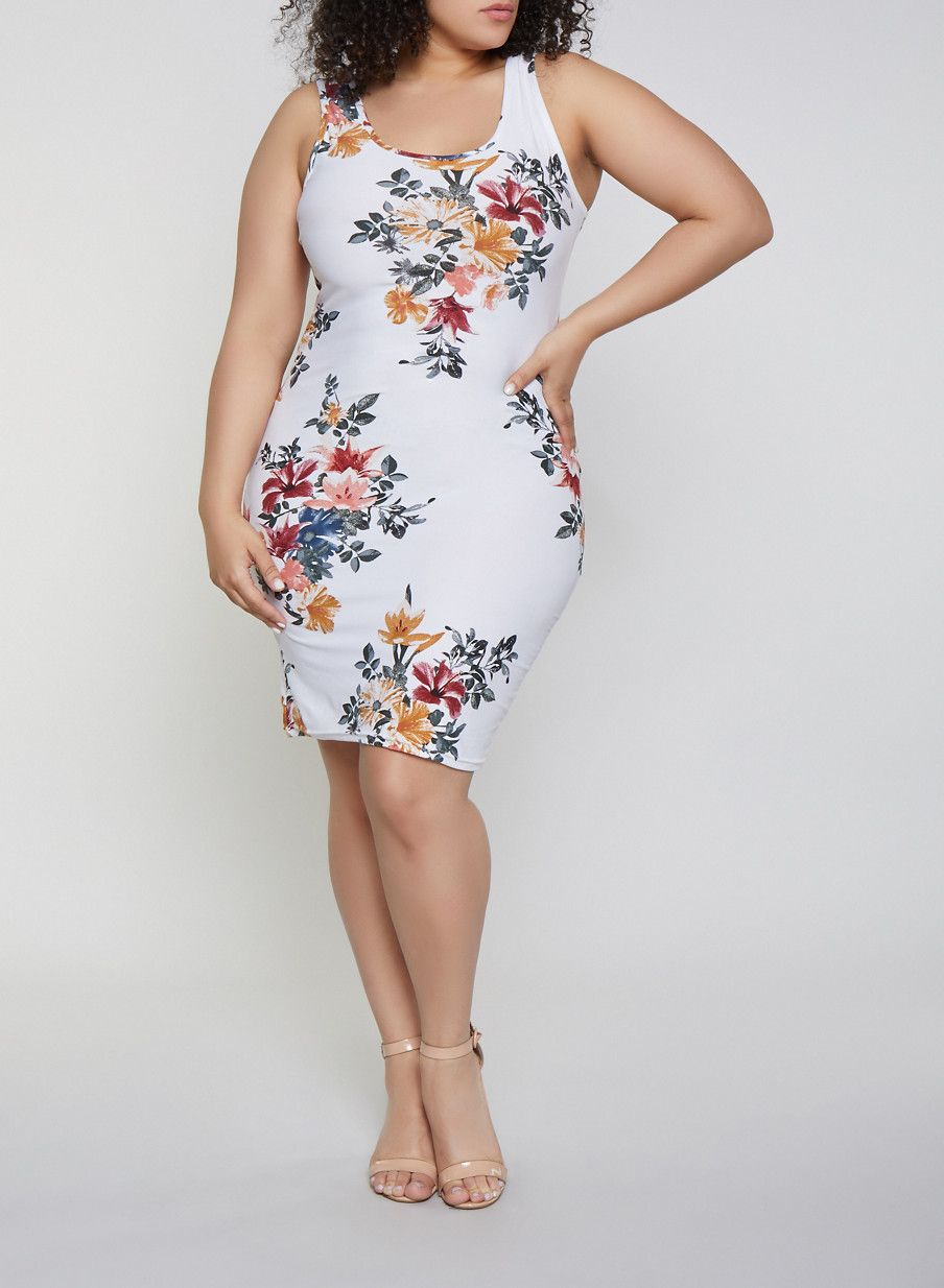 Plus Size Floral Tank Dress | 1390051064947 in 2019 ...
