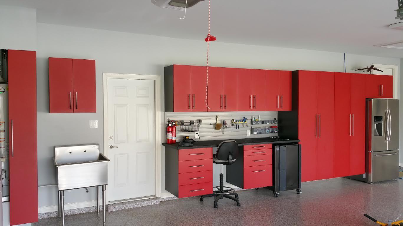 custom red cabinets gray pvc slatwall and epoxy floor coating make rh pinterest com