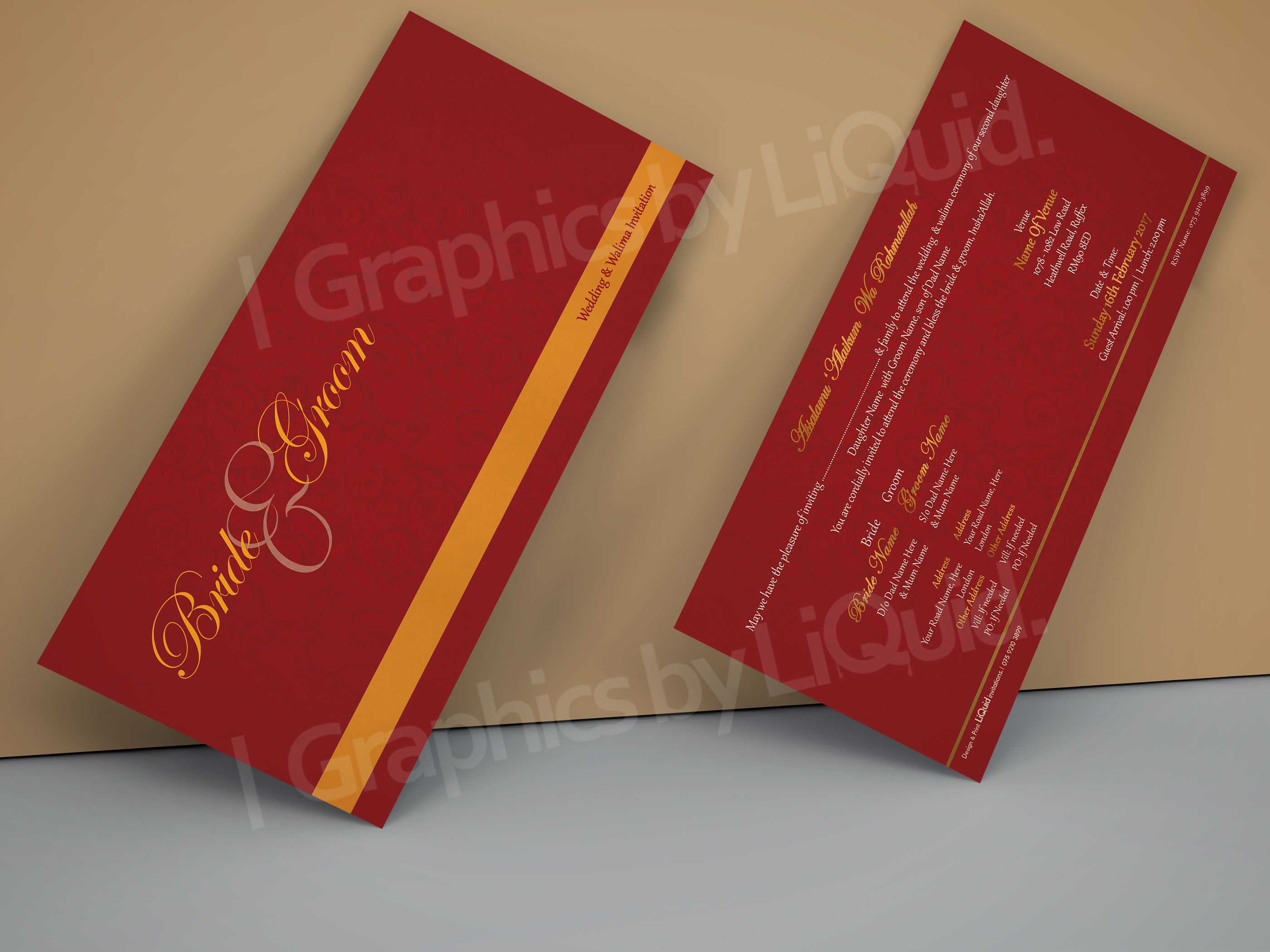 Red & Orange DL Wedding Invitation Card QDL12 | Wedding Invitation ...