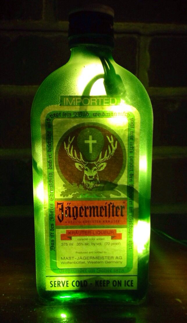 https://www.etsy.com/listing/216215272/jagermeister-green-lighted-bottle-lamp see more at http://www.lightitupcreations.blogspot.com/?m=1  #bottle #seasonal #jagermeister #whisky #lighted #lamp  #green
