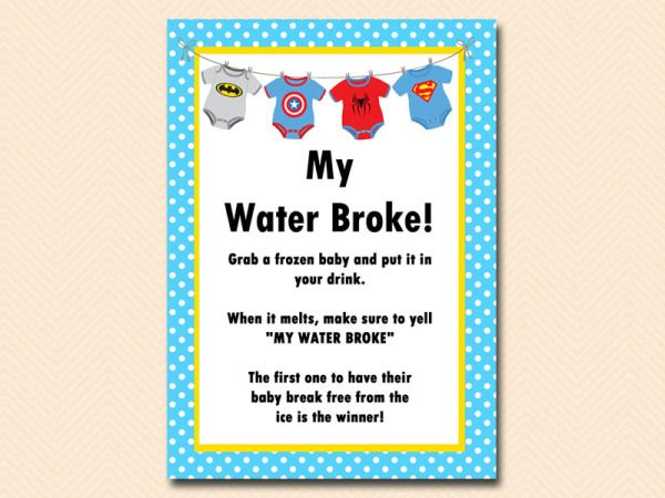 Superhero Baby Shower Game Pack My Water Broke