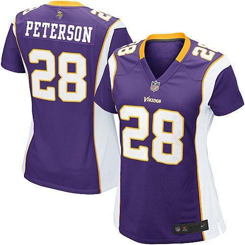 Women's Nike Minnesota Vikings #28 Adrian Peterson Elite Team Color Purple Jersey $109.99