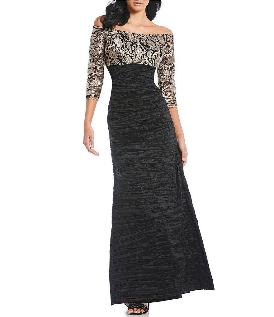 e96a93504f3c Alex Evenings Off-the-Shoulder Embroidered Empire Waist Dress Shoulder