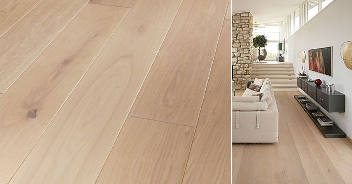 Tarima de madera natural maciza roble blanco ligero un suelo de parquet moderno y actual - Suelo parquet blanco ...