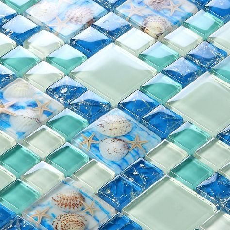 Beach Style Sea Blue Gl Tile Mother Of Pearl Resin Chips Green Aqua Mosaics Wall