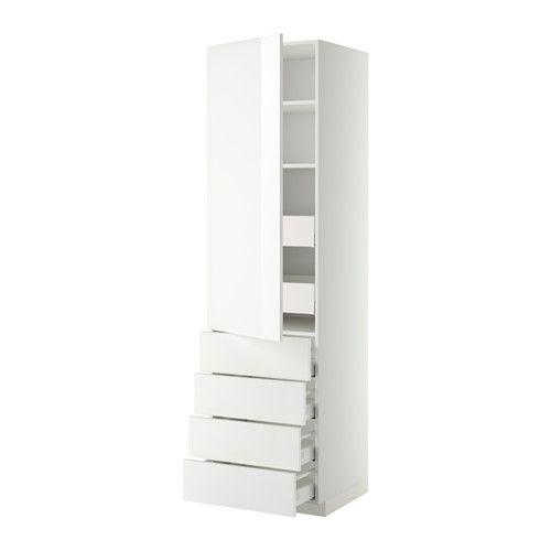 METOD Hi cab w shlvs/6 drawers/dr/4 frnts White/ringhult white IKEA