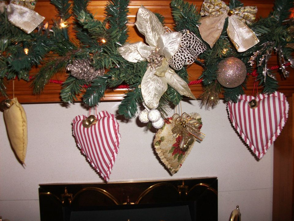Xmas heart and jingle bell garland i made x