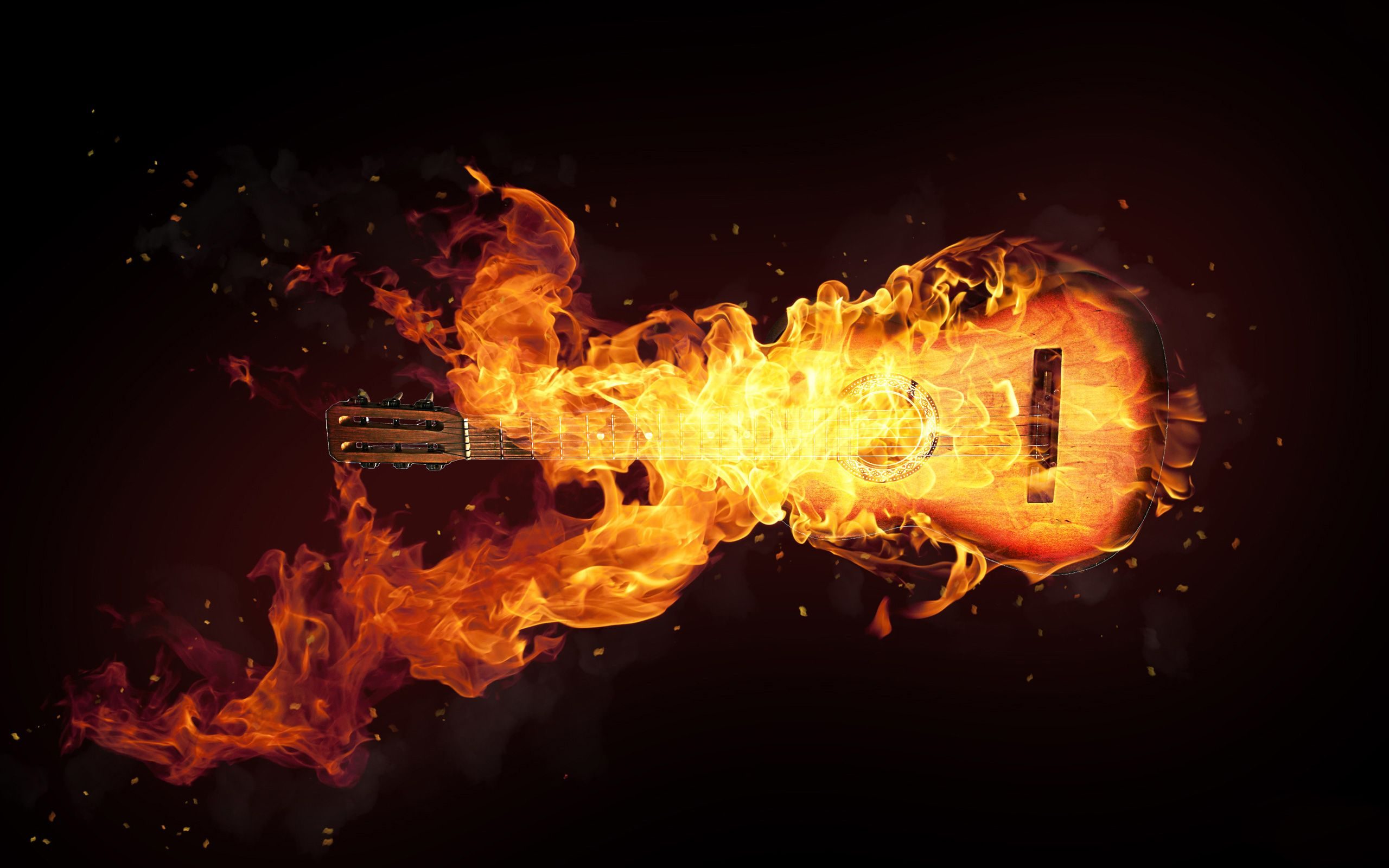 Fire Effect Guitar Hd Wallpaper Dazzling Wallpaper