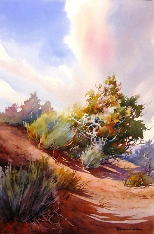 Desert Dance Watercolor Landscape Paintings Watercolor