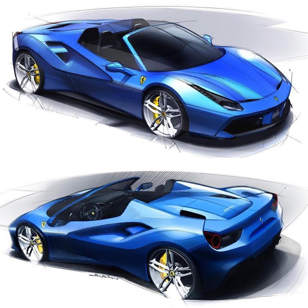 Ferrari F8 Tributo Imagined As A Spider: Ferrari 488 Spider Official Sketches