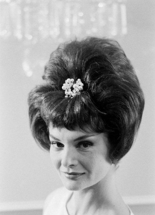 A 1960s beehive hairdo. - The aunts would come over and ...