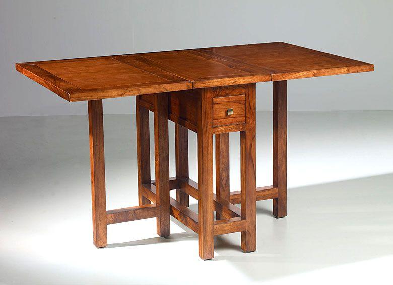 Mesa consola comedor sunkai material madera de teca for Mesas de comedor plegables