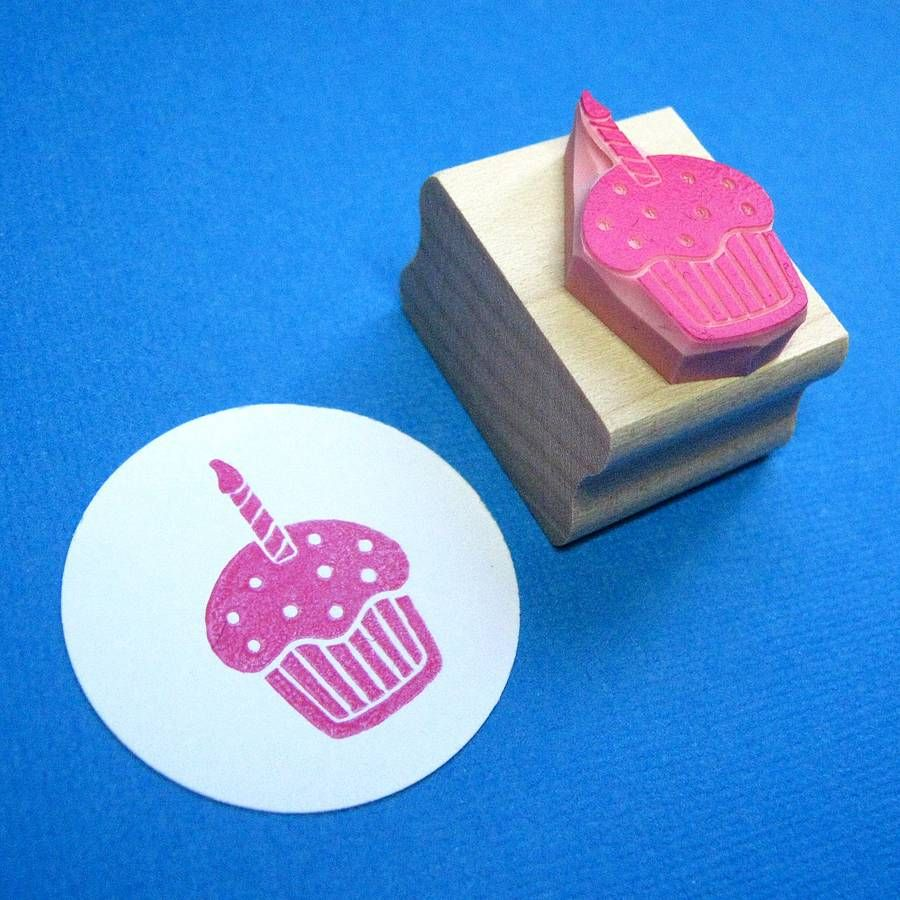 Birthday cupcake rubber stamp hand carved birthdays and stamps