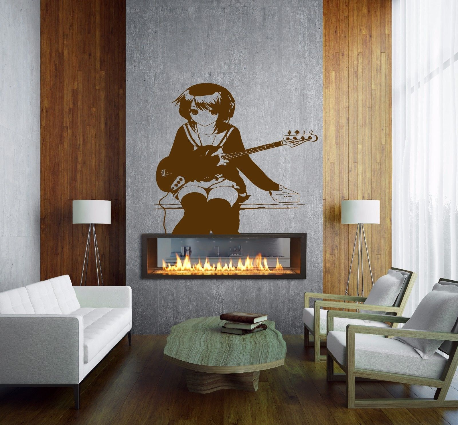 Anime Decal Girl With Guitar Kids Room Children Stylish Wall
