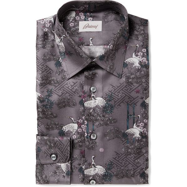 Brioni Crane-Print Silk-Faille Shirt ($1,850) ❤ liked on Polyvore ...