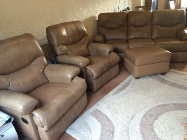 Best Leather Reclining 3 Piece Suite Sofa Chair Sherborne 400 x 300