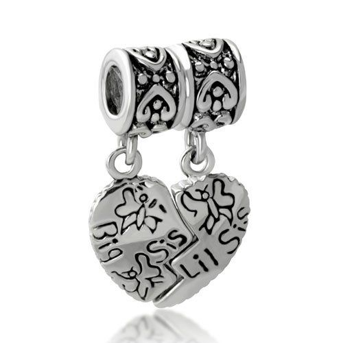 15ed5b937 Amazon.com: Pugster Big Sis Little Sister Heart Dangle Bead Fits Pandora  Charms: Pugster: Jewelry ~ Bought Sept 2013 for my sister and I.
