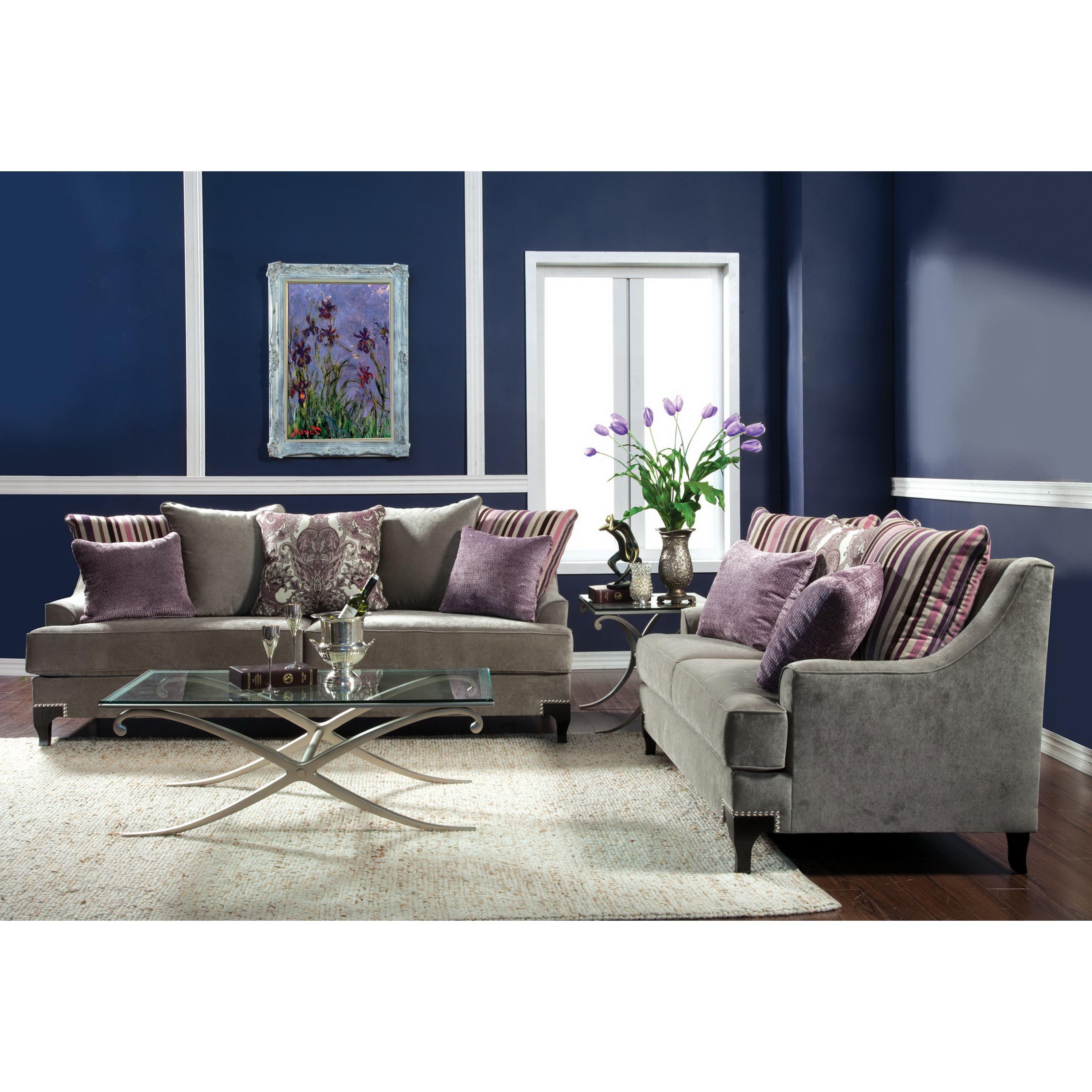 furniture of america visconti 2 piece premium velvet sofa and rh pinterest com