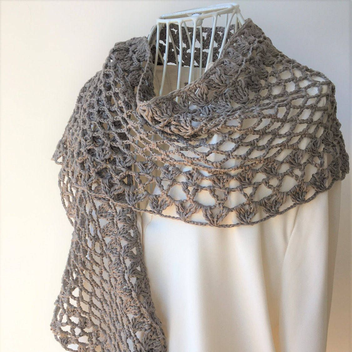 Cotton Shawl New Year Gift Baktus Scarf In Organic Linen Blend