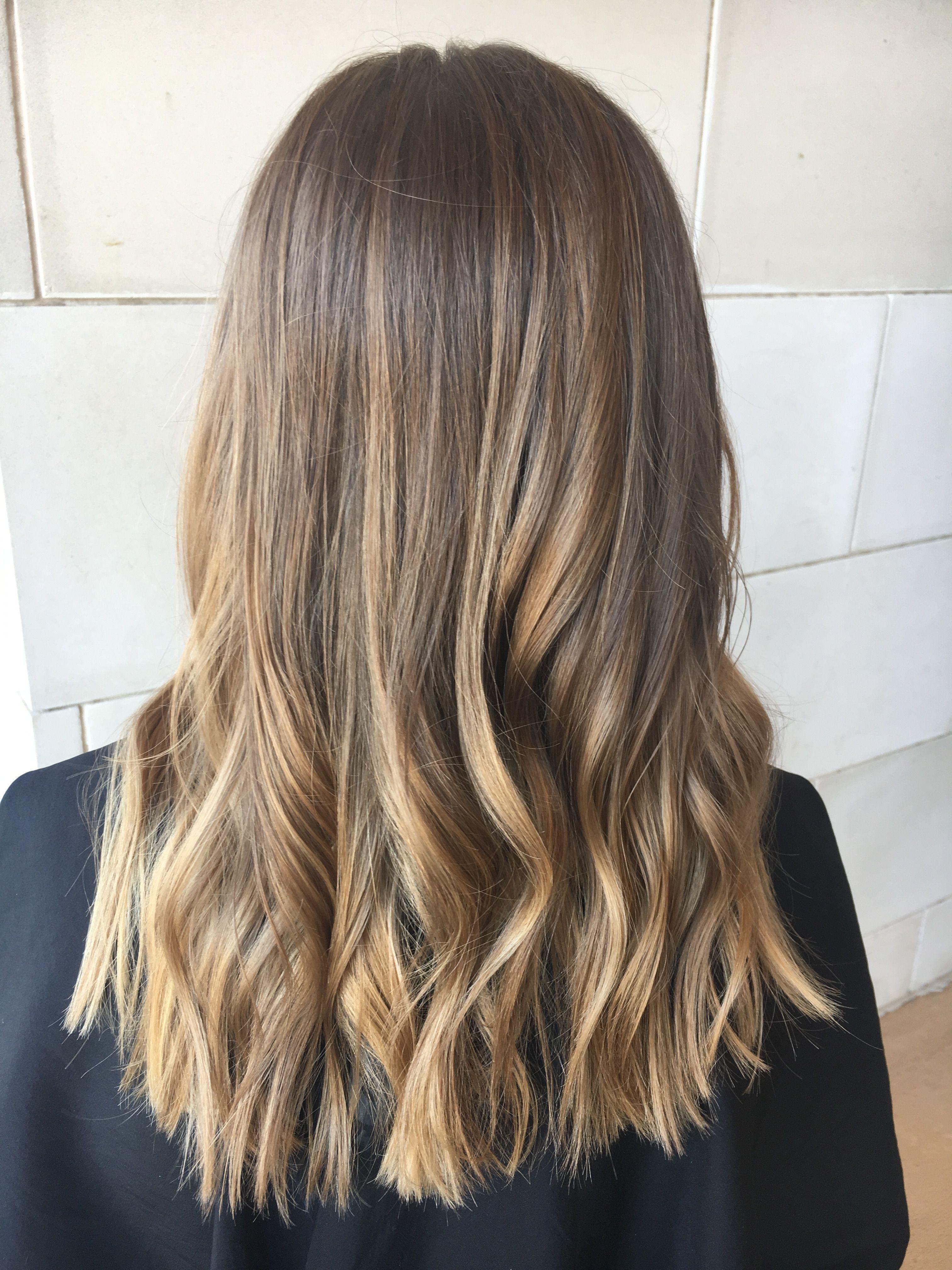 Balayage Light Brown And Blonde Medium Length Hair Medium