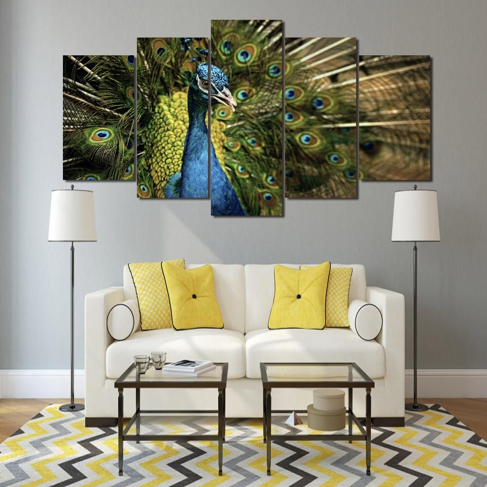living room art prints%0A HD Printed Peacock Painting on canvas room decoration print poster picture  canvas Free shipping ny